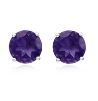 4Ct Amethyst Solitaire Stud Earrings In 14K White Gold Over Sterling