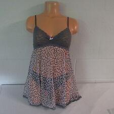 Victoria's Secret Nylon Elastane Mesh Lacie 2-Pc. Babydoll Pajama Gray Animal M