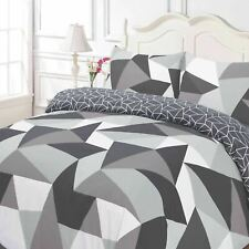 Dreamscene Geometric Shapes Duvet Cover with Pillowcase Bedding Set Black Grey