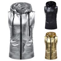 Men's Jacket Hoodie Costume Wet Look Jacket Hip Hop Shiny Clubwear Zipper