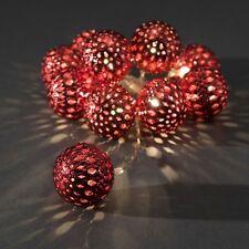 LED Batterie Lichterkette 10 rote Kugeln 4 cm  mit 10 warmweissen LED