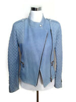 Barbara Bui Leather Jacket 40 Quilted Denim Illusion Blue Moto Biker Women's