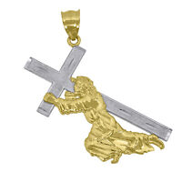10K Yellow Gold Jesus Pushing Cross Crucified Religious Christian Pendant Charm