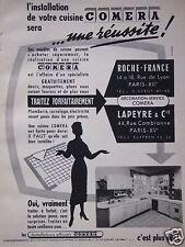 PUBLICITÉ 1956 CUISINE COMERA INSTALLATEURS LAPEYRE & Cie - ROCHE-FRANCE