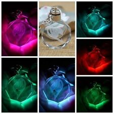 New Fairy Tail Anime Crystal LED Light Charm Key Chain Key Ring Cosplay 1PC D0