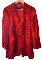 Vintage 80's-90's ESCADA Red Rayon Notch Collar Geometric Power Suit Jacket 38/8