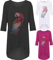 Womens Plus Diamante Parrot Top Ladies Print Hi Lo Dip Hem 3/4 Sleeve T-Shirt