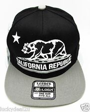 CALIFORNIA REPUBLIC Snapback Cap Hat CALI Bear Flag Black Gray Caps Hats NWT