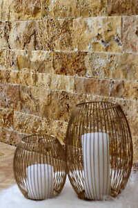 Naturstein Fliesen Wandverblender Travertin GOLD 3D Wohnrausch Muster