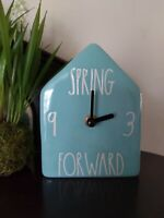 "Rae Dunn 2021 Spring Easter ""SPRING FOWARD"" Blue Birdhouse Clock VHTF"