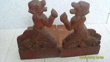 Vintage carved wooden book ends -Asian dragon gods