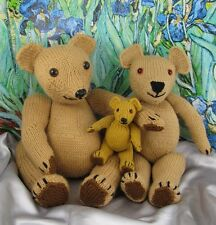 PRINTED INSTRUCTIONS-TEDDY BEAR FAMILY - ANIMAL TOY SOFTIE KNITTING PATTERN