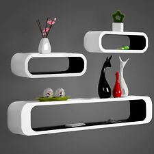 Wall Shelves Floating Wall Mounted Shelf MDF Set of 3 Cube Black/White URG9230sz