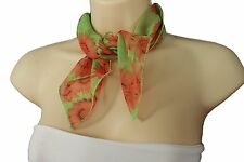 Women Mini Scarf Neck Head Cover Bright Green Fabric Orange Sunflowers Floral