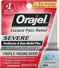 Orajel Severe Triple Medicated Toothache Gum Relief Gel .25 oz Exp 7/2018