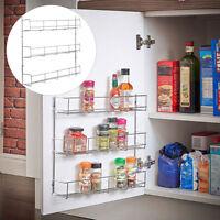 3 Tier Spice Jar Rack Storage Holder Container Organizer Kitchen Door Wall Mount