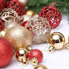 100PCS Glitter Christmas Baubles Xmas Tree Ornament Hanging Ball DIY Decorations