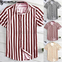 Men's T Shirt Short Sleeve Hawaiian Striped Holiday Party Shirt Beach Top Blouse