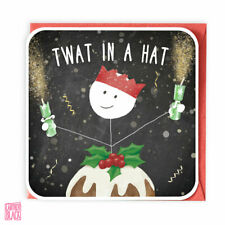 Funny Christmas Card, Xmas Card, Christmas Stickman, Twat in a Hat