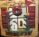 "Christmas Window Tapestry Wreath Buttons Winter Snowman Handmade 28"" x 26"""