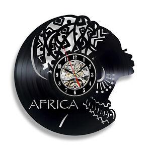 African Woman Clock Wall Decor Home Vinyl Record Modern Art for Living Room