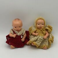 """TWO LITTLE 5"""" IRWIN HARD PLASTIC BABY DOLLS IN HANDMADE CROCHETED OUTFITS CUTE"""