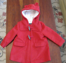 New NWT Baby Gap Red Hooded Lined Wool Blend Winter Jacket Coat 18-24 Month Warm
