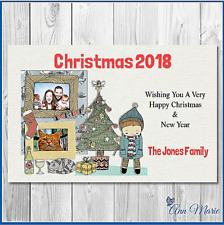 10 X PERSONALISED PHOTO CHRISTMAS XMAS POST CARD  AND ENVELOPES THANK YOU CARDS