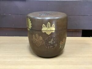 Y1105 NATUME Tea Caddy Urushi Makie repaired Japanese TEA Ceremony Japan antique