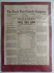 The Uncle Tom Comedy Company S.S. Sanford Uncle Tom's Cabin Full Broadside 1876