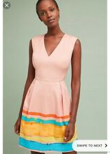 $178 Tracy Reese Anthropologie Painterly Pleated Dress Watercolor Pink 0 New