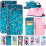 For iPhone XR XS Max 6s 7 8 Leather Wallet Flip Patterned Phone Stand Case Cover