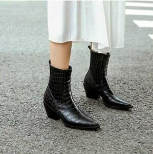 Womens Chic Pointed Toe Block Mid Heel Shoes Retro Punk Chelsea Ankle Boots Size