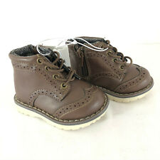 Cat & Jack Toddler Boys Prentice Wingtip Fashion Boots Zipper Laces Brown 4