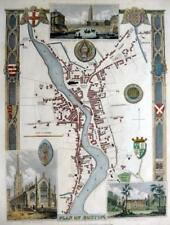 BOSTON LINCOLNSHIRE  BY THOMAS MOULE GENUINE ANTIQUE MAP WITH HAND COLOUR c1840