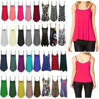 Ladies Womens New Plain/Printed Swing Cami Vest Sleeveless Top Strappy Plus Size