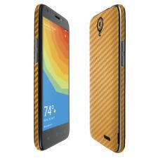 Skinomi TechSkin Gold Carbon Fiber & Screen Protector for ZTE Prelude