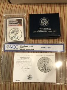 2019 S Enhanced Reverse Proof $1 Silver Eagle NGC PF70 First Release COA # 01897