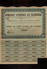 MINING : Syndicat Lyonnais du Klondike 1900 Yukon Alaska Gold Rush