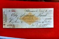 1878 EARLY CHEQUE FIRST NATIONAL BANK WILLIAMSPORT PA M.S BATES GROCERIES