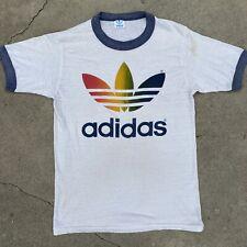 Vintage Adidas Rainbow Trefoil T Shirt Single Stitch Made In USA 1980s 38 -40