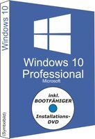 Win 10 Pro DVD + Key 64-Bit OEI DSP 1pk OEM Deutsch MS Windows Professional Code