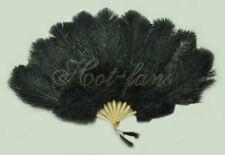 "Black Marabou & Ostrich Feather Fan 24""x43"" with gift box burlesque"