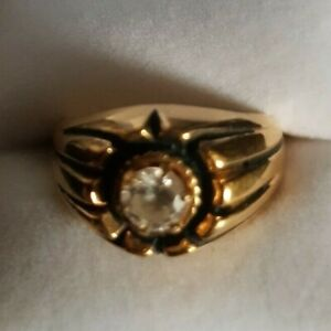 Vintage solitaire created Diamond gold ring 1ct round stone size 10 signed SETA