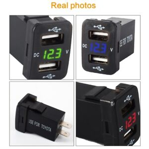 12V Dual USB Ports Car Charger Socket Voltmeter 4.2A Power Adapter For Toyota