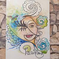 Original Aquarell Afro Frau Kunst Aquarel Bild Malerei Gemälde Frauen Akt
