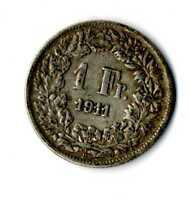 Moneda Suiza 1911 B 1 franco suizos plata .835 silver coin Helvetia