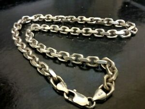 Solid Heavy Vintage GHA 925 Sterling Silver Men's Chain Necklace 20 Inch 80gms