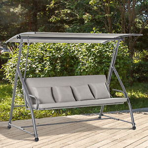 Outsunny 3 Seater Porch Swing Convertible Swing Chair Bed Cushioned Brown