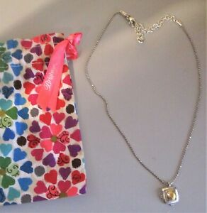 Brighton Hammered Gold & Silver Pendant Necklace  + Fabric Pouch + MINT!